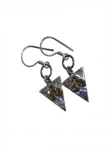 Banshee Silver Spiral Triangle Earrings