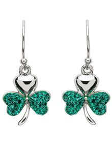 Sterling Silver Shamrock Earrings Embellished With Green Swarovski Crystals