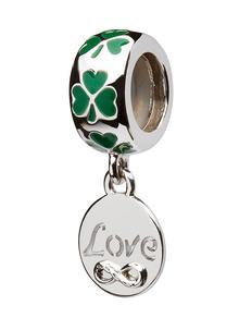 Origin Sterling Silver Green Enamel Shamrock Love Charm
