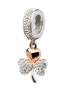 Origin Rose Gold Plated Shamrock Charm With Swarovski Crystals