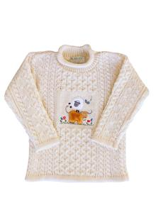 Kid's Aran Embroidered Sheep Sweater