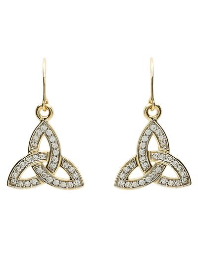 10K Gold Trinity Knot Pave Set Drop Earrings