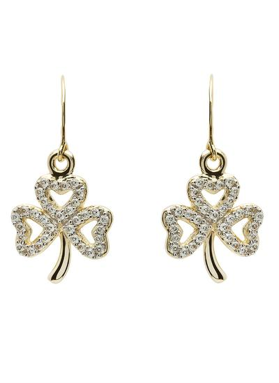 10K Gold Shamrock Stone Set Drop Earrings