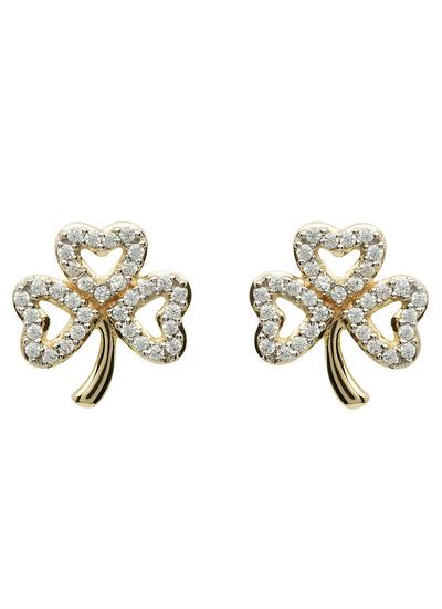 10K Gold Shamrock Stone Set Stud Earrings