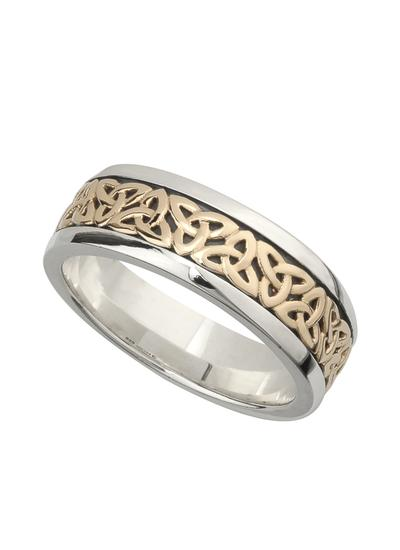 10K Gold & Sterling Silver Gents Trinity Knot Ring
