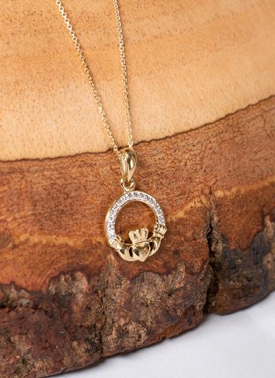 10K Gold Claddagh Pave Set Pendant