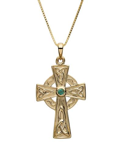 10K Gold & Emerald Celtic Cross Pendant