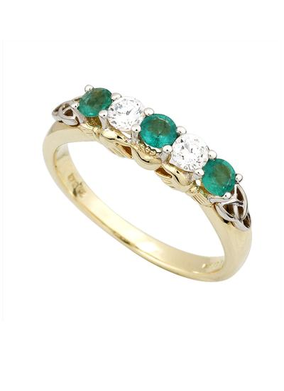 10K Gold Emerald & Cubic Zirconia Claddagh Eternity Ring