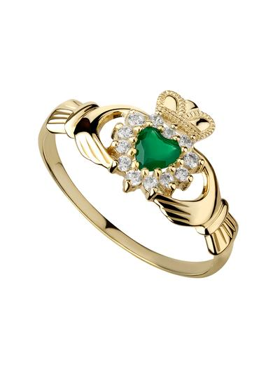 10K Gold Green Agate Claddagh Ring