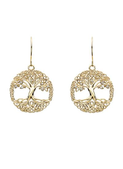 10K Gold Tree Of Life Earrings
