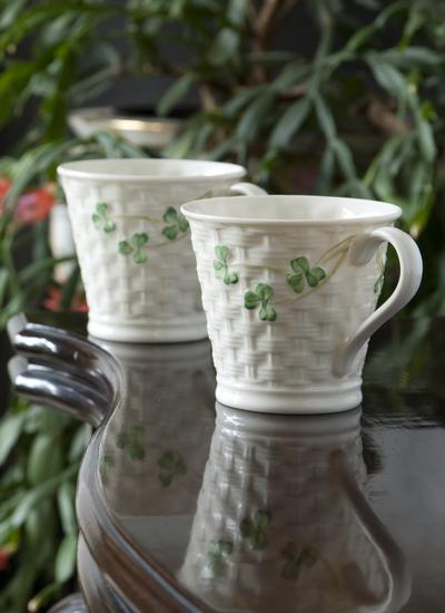 Shamrock Basketweave Mugs Set of 2
