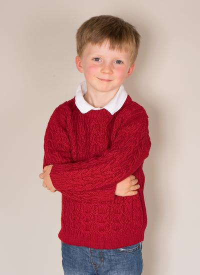 Kids Crew Neck Aran Sweater