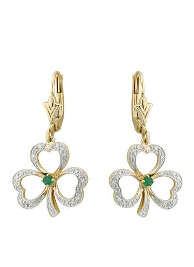 14K Gold Diamond Encrusted Emerald Shamrock Earrings