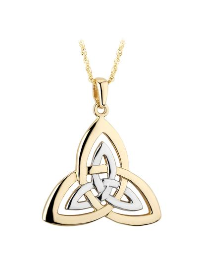 14K Gold Two Tone Double Trinity Knot Pendant