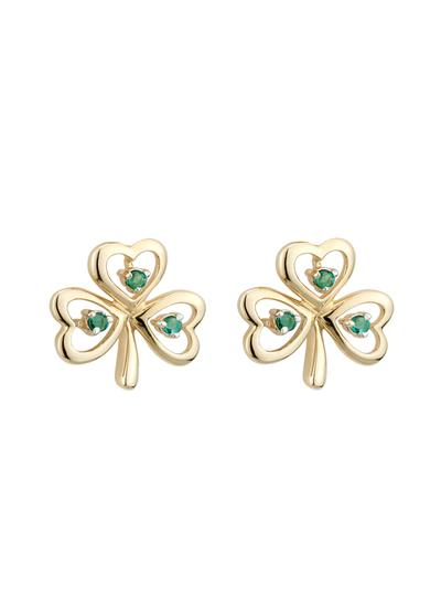 14K Gold & Emerald Shamrock Earrings