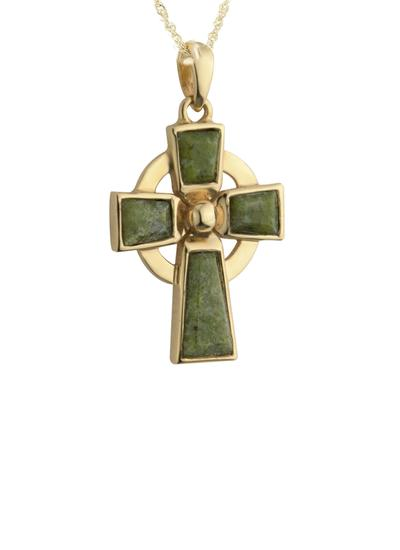 14K Gold Connemara Marble Celtic Cross