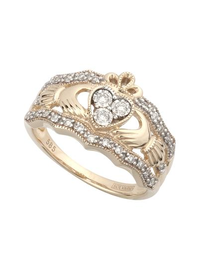 14K Gold Diamond Claddagh Ring