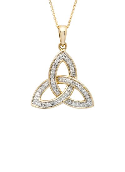 14K Gold Diamond Encrusted Trinity Knot Pendant