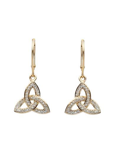 14K Gold Diamond Set Trinity Knot Earrings