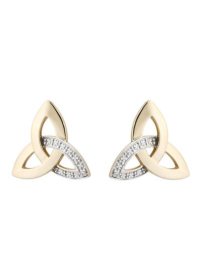 14K Gold Diamond Trinity Knot Earrings