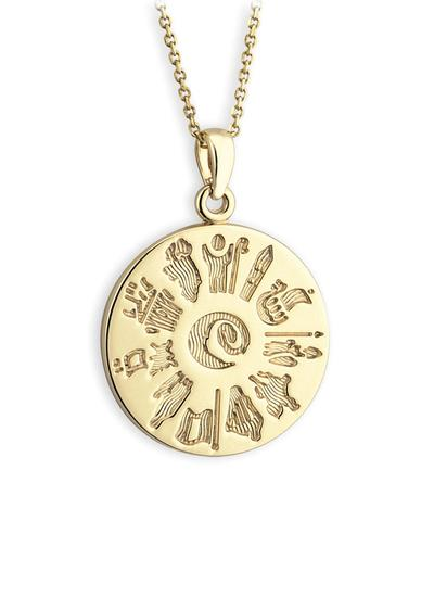 14K Gold History Of Ireland Disc Pendant