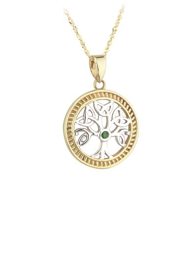 14K Gold Two Tone Emerald Tree Of Life Pendant