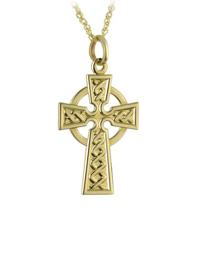 14K Gold Embossed Celtic Cross Pendant