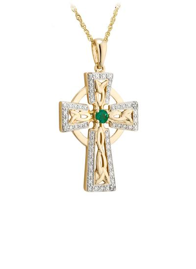 14K Gold Diamond & Emerald Cross Pendant