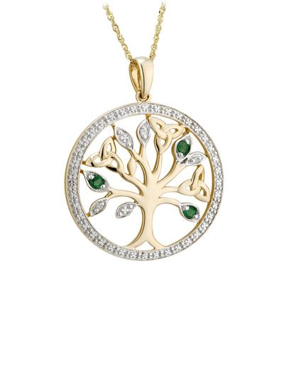 14K Gold Tree Of Life Pendant With Diamonds & Emeralds