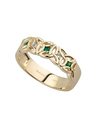 14K Gold Diamond & Emerald Trinity Knot Ring