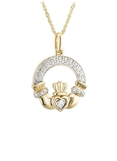 14K Gold Diamond Claddagh Pendant