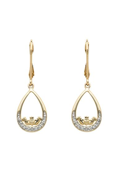 14K Gold Diamond Set Claddagh Drop Earrings