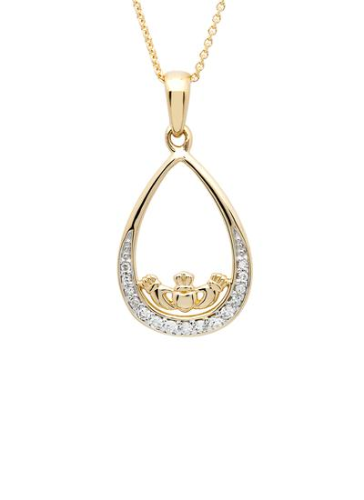 14K Gold Diamond Set Claddagh Pendant