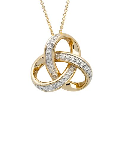 14K Gold Diamond Set Rounded Trinity Pendant