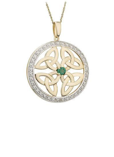14K Gold Emerald Round Trinity Knot Pendant
