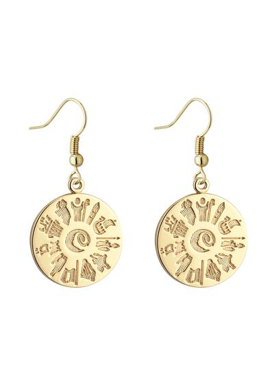 14K Gold History Of Ireland Round Drop Earrings