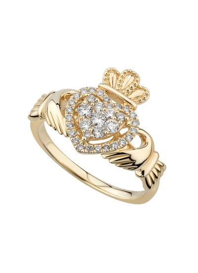 14K Gold Diamond Heart Claddagh Ring