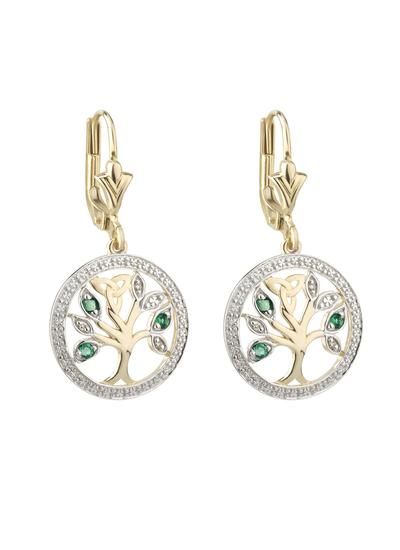14K Gold Tree Of Life Earrings With Diamonds & Emeralds