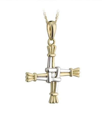 14K Two Tone Diamond Set St. Brigid's Cross Pendant