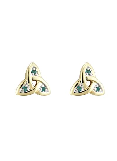 14K Gold & Emerald Trinity Knot Stud Earrings