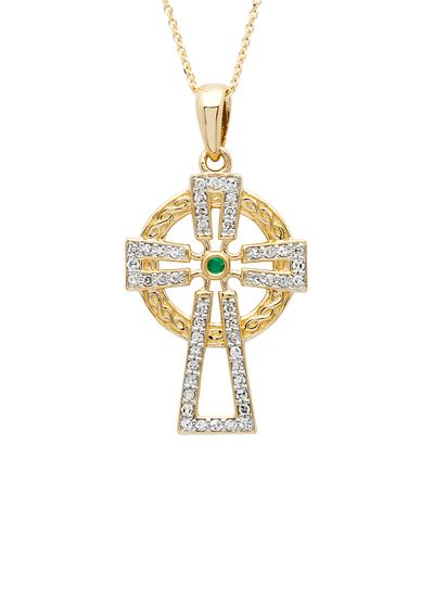 14K Gold Diamond & Emerald Set Celtic Cross