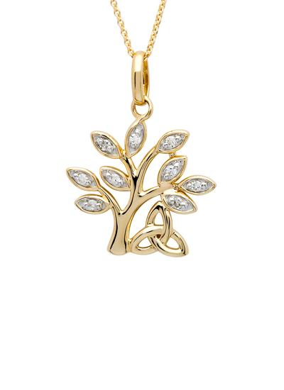 14K Gold Diamond Set Tree Of Life Pendant
