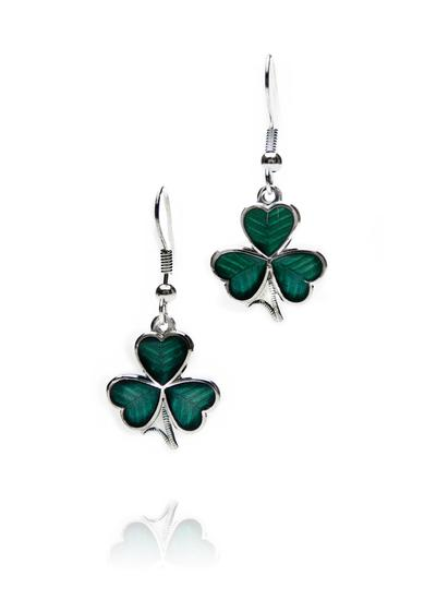 Shamrock Enamel Earrings