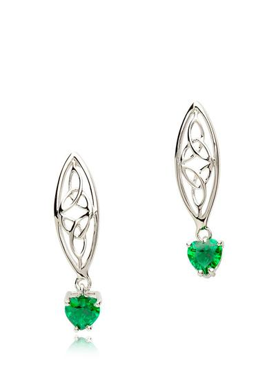 Sterling Silver Emerald Trinity Knot Earrings