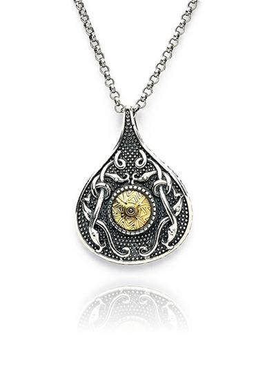 Wood Quay Teardrop Pendant with 18K Gold Bead