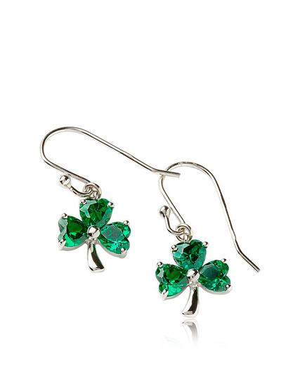 Sterling Silver Emerald Shamrock Earrings