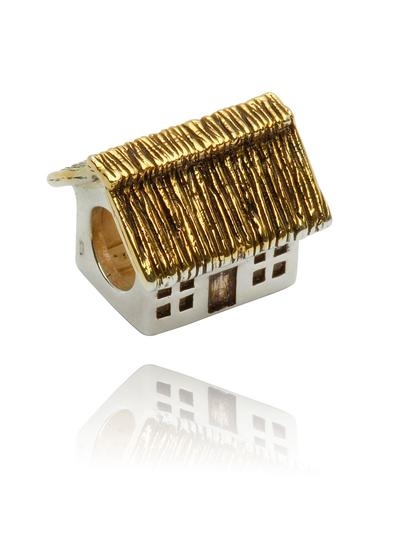 Sterling Silver & 14K Gold Thatch Cottage Bead