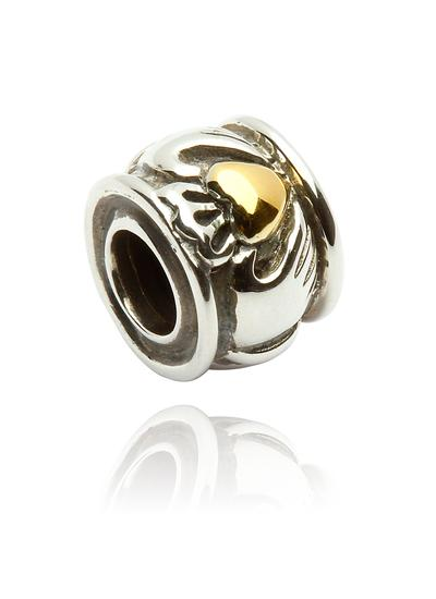 Sterling Silver & 14K Gold Claddagh Bead