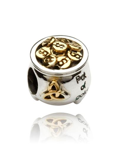Sterling Silver & 14K Gold Pot of Gold Bead