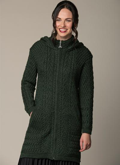 Caitlin Aran Cable Hooded Coatigan